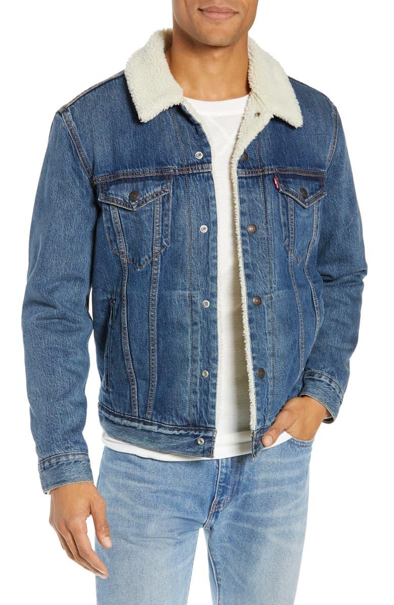 LEVI'S<SUP>®</SUP> Faux Shearling Trim Denim Trucker Jacket, Main, color, MAYZE