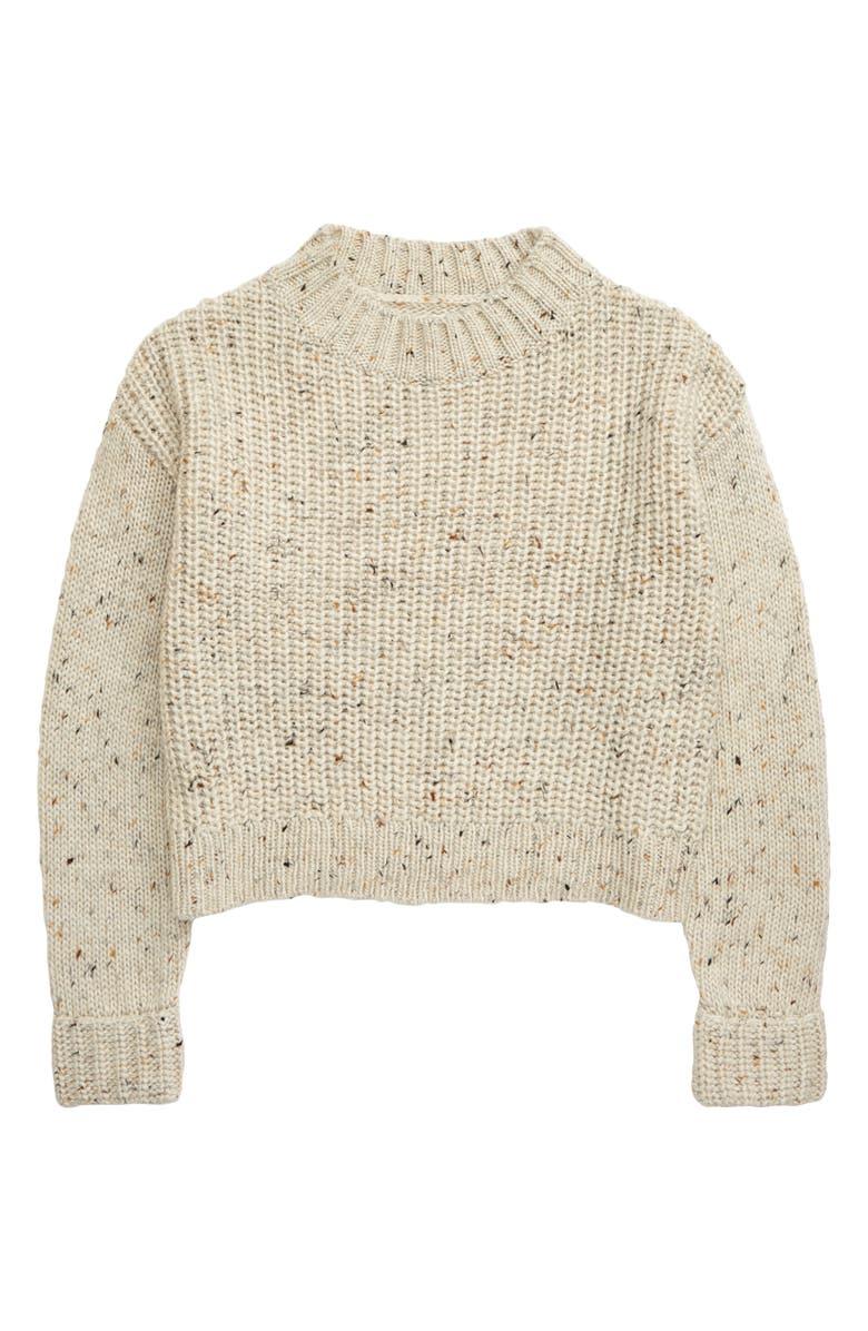 TREASURE & BOND Crop Sweater, Main, color, BEIGE OATMEAL HEATHER