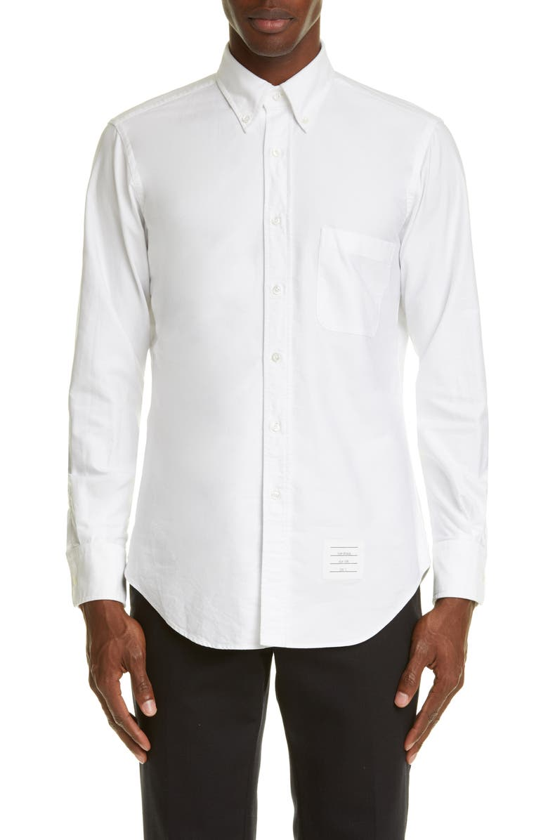 THOM BROWNE White Oxford Button-Down Shirt, Main, color, WHITE