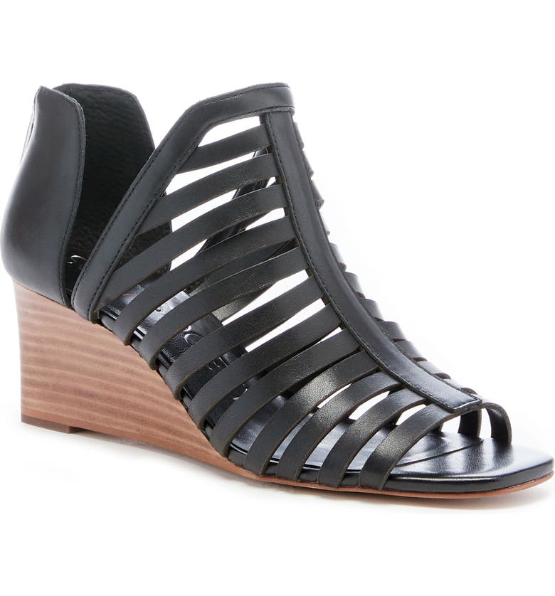 SOLE SOCIETY Serifyna Wedge Sandal, Main, color, BLACK LEATHER