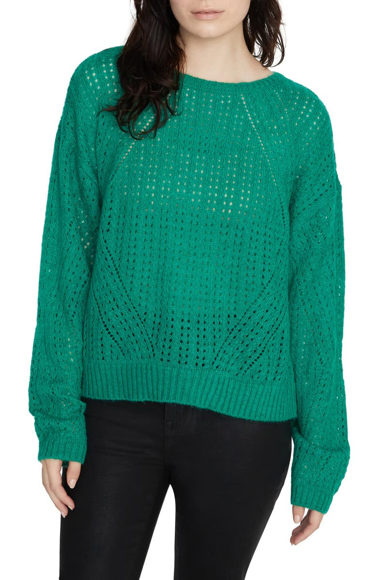 SANCTUARY Hole in One Pointelle Sweater, Main, color, EMERALD