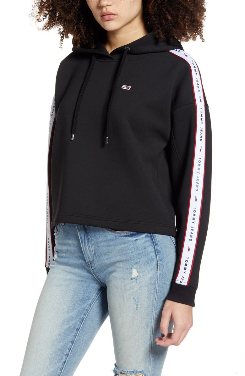 TOMMY JEANS Logo Tape Crop Hoodie, Main, color, BLACK