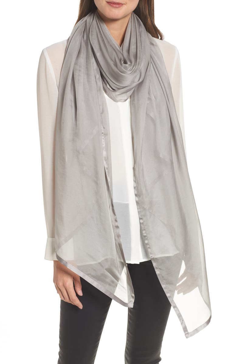 NORDSTROM Satin Border Silk Chiffon Scarf, Main, color, GREY SCONCE