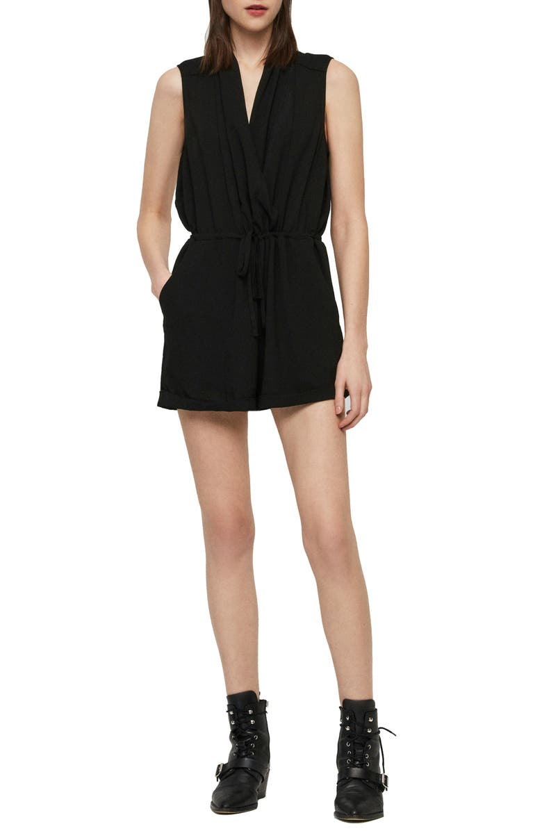 ALLSAINTS Cassie Drawstring Romper, Main, color, 001