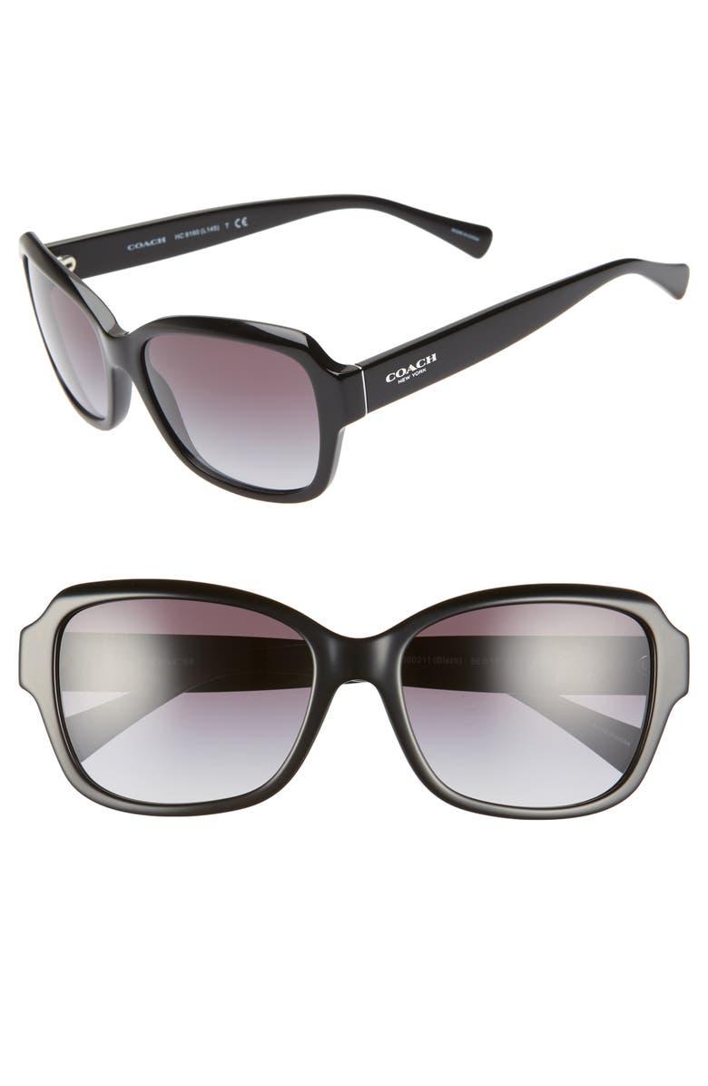 COACH 56mm Square Sunglasses, Main, color, 001