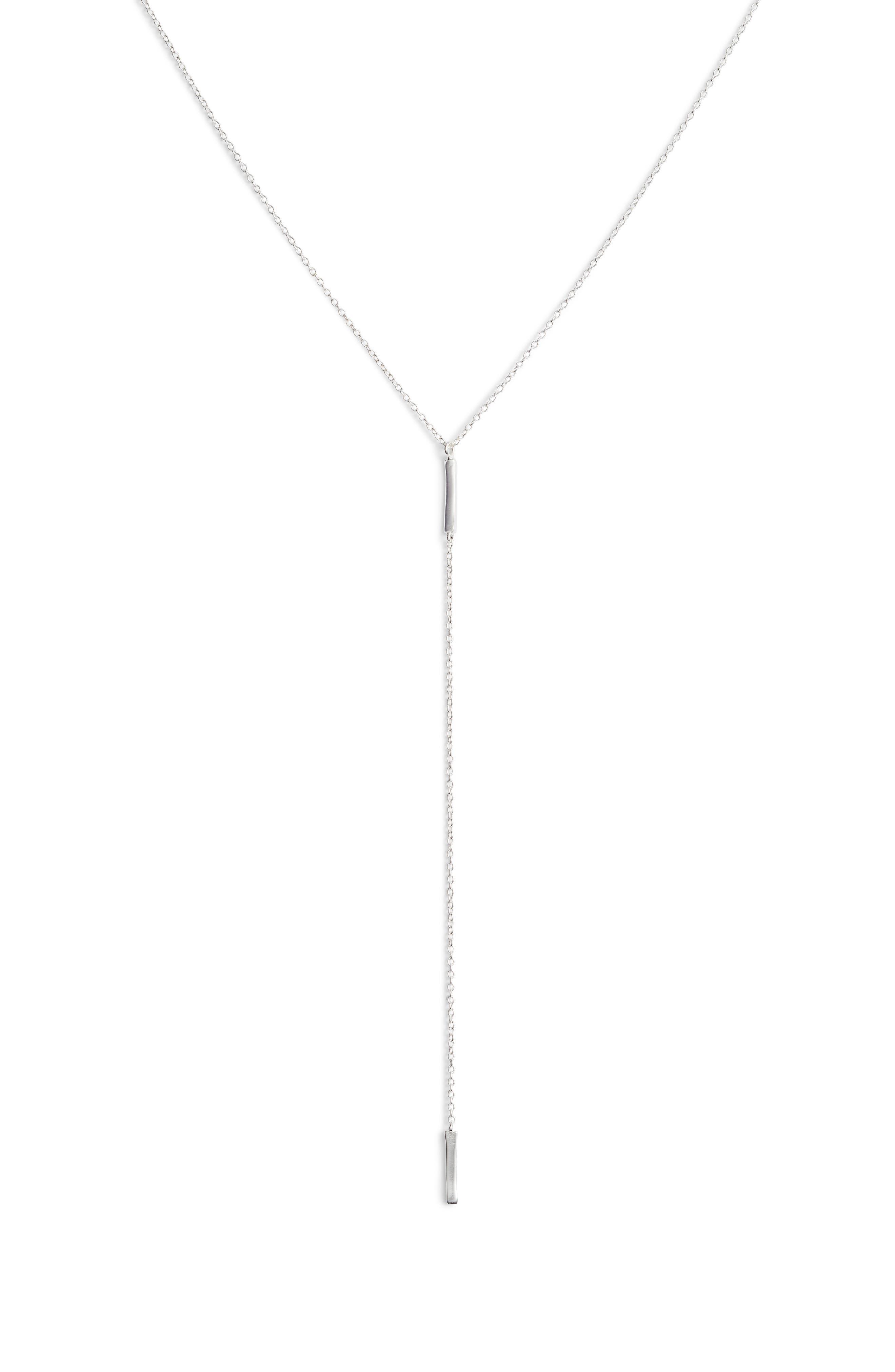 Taner Bar Short Y-Necklace, Main, color, SILVER
