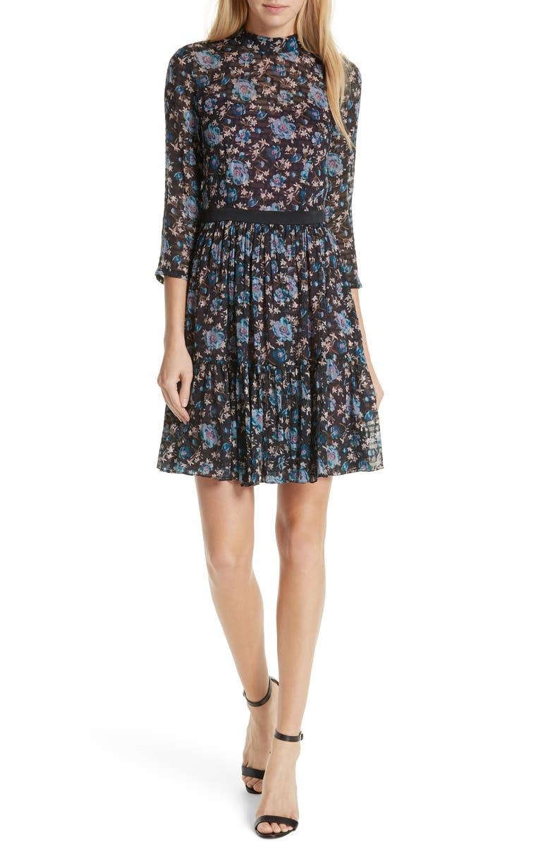 REBECCA TAYLOR Solstice Silk Blend Dress, Main, color, 014