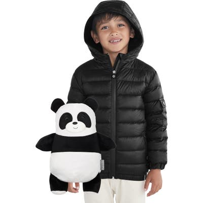 Cubcoats Papo 2-In-1 Stuffed Animal & Hooded Down Jacket,7 - Black