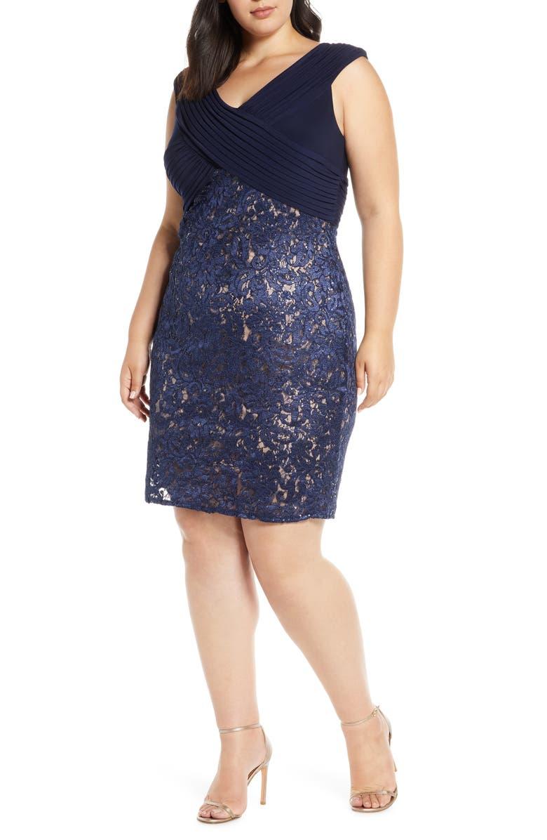 ALEX EVENINGS Pleat & Sequin Lace Shift Dress, Main, color, NAVY/ NUDE