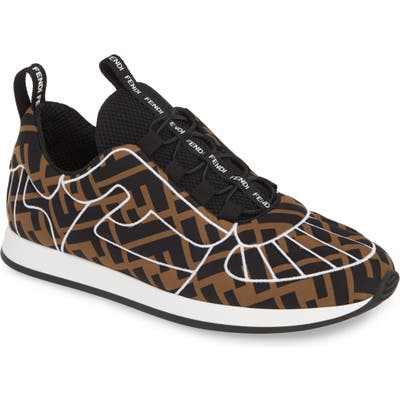 Fendi Ffreedom Logo Embroidered Sneaker - Brown