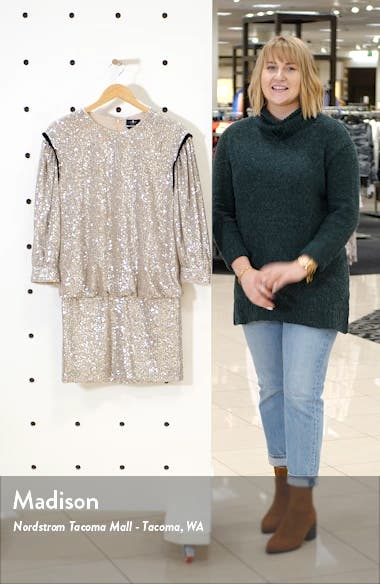 Sequin Long Sleeve Blouson Minidress, sales video thumbnail