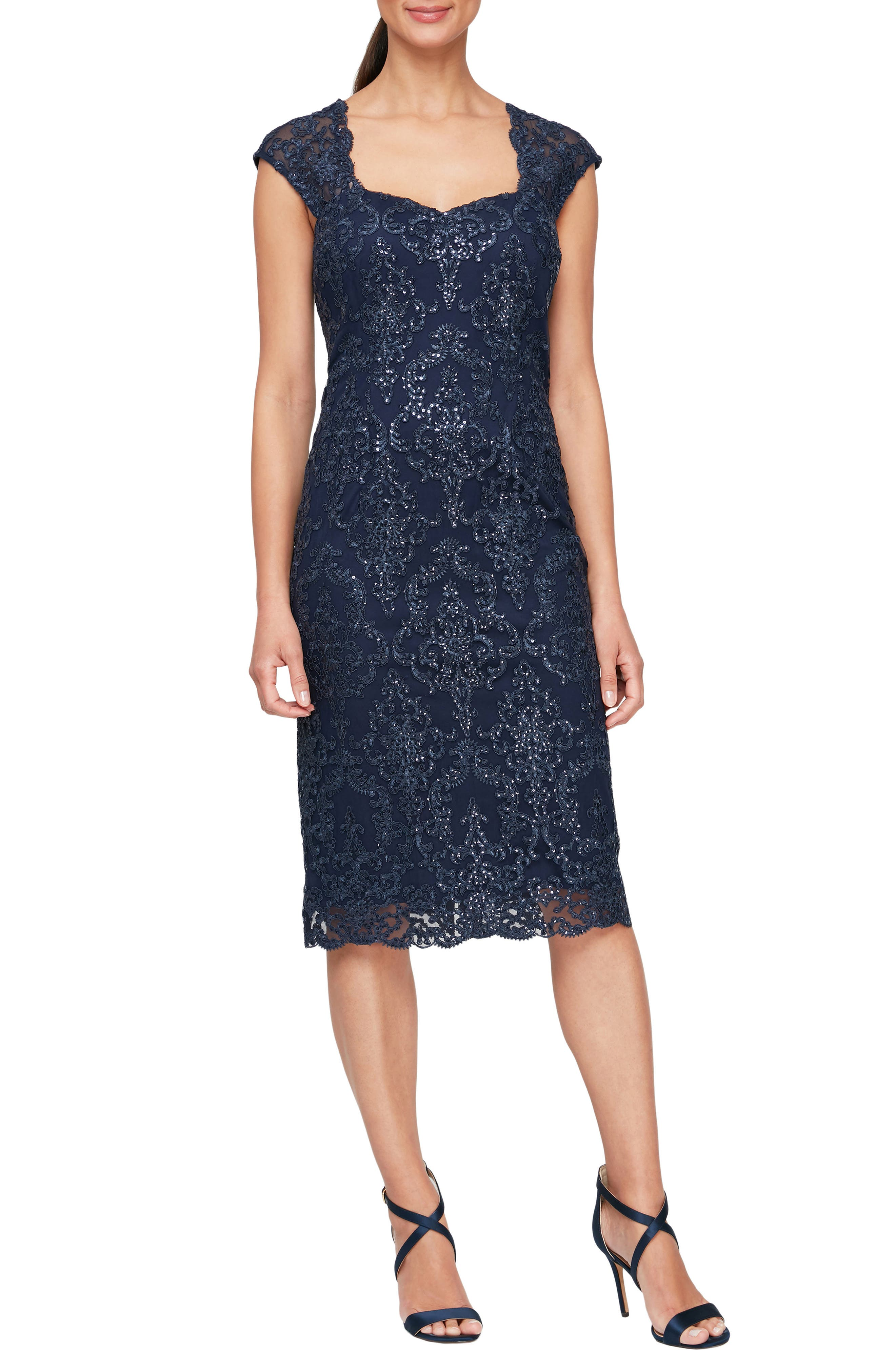 Sequin Embroidery Cocktail Sheath Dress
