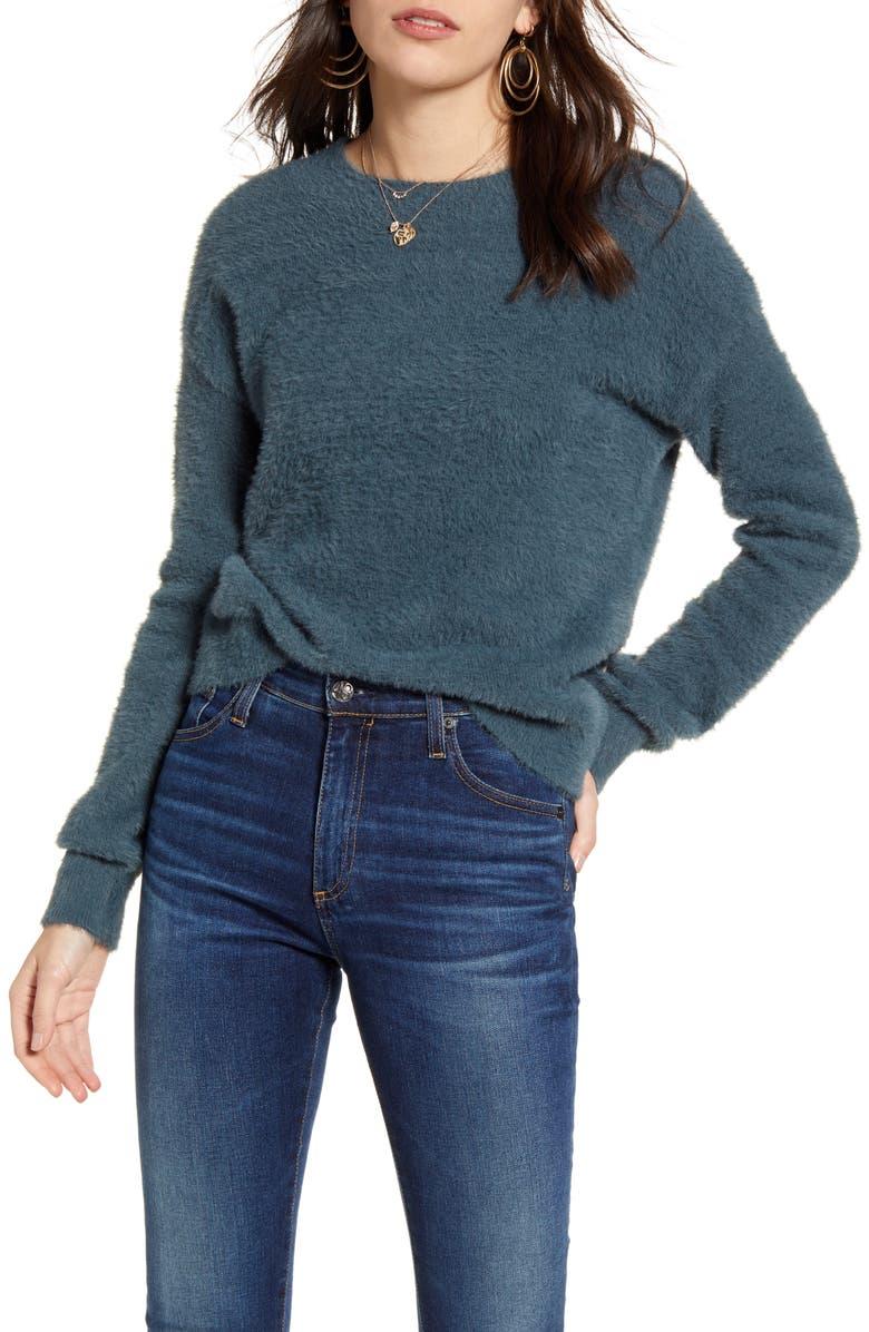 TREASURE & BOND Fuzzy Crewneck Sweater, Main, color, BLUE SLATE