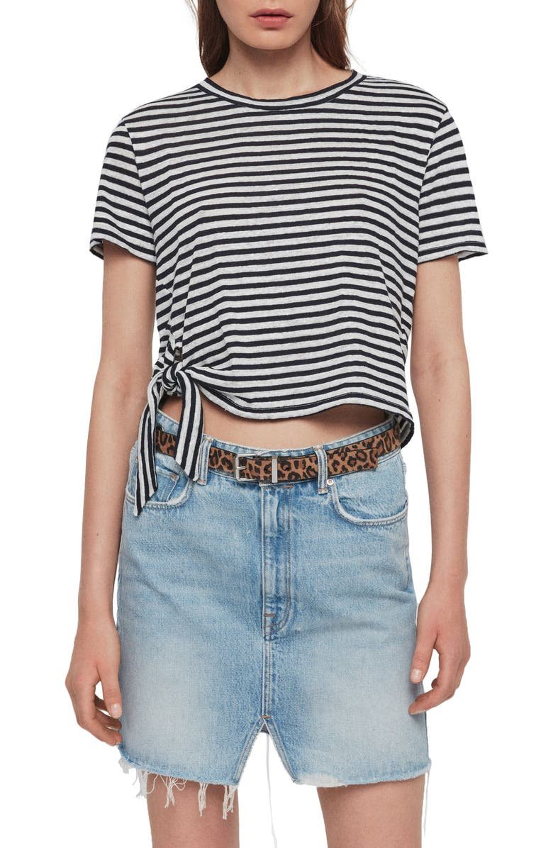ALLSAINTS Tujen Stripe Tie Hem Tee, Main, color, CHALK/ INK BLUE