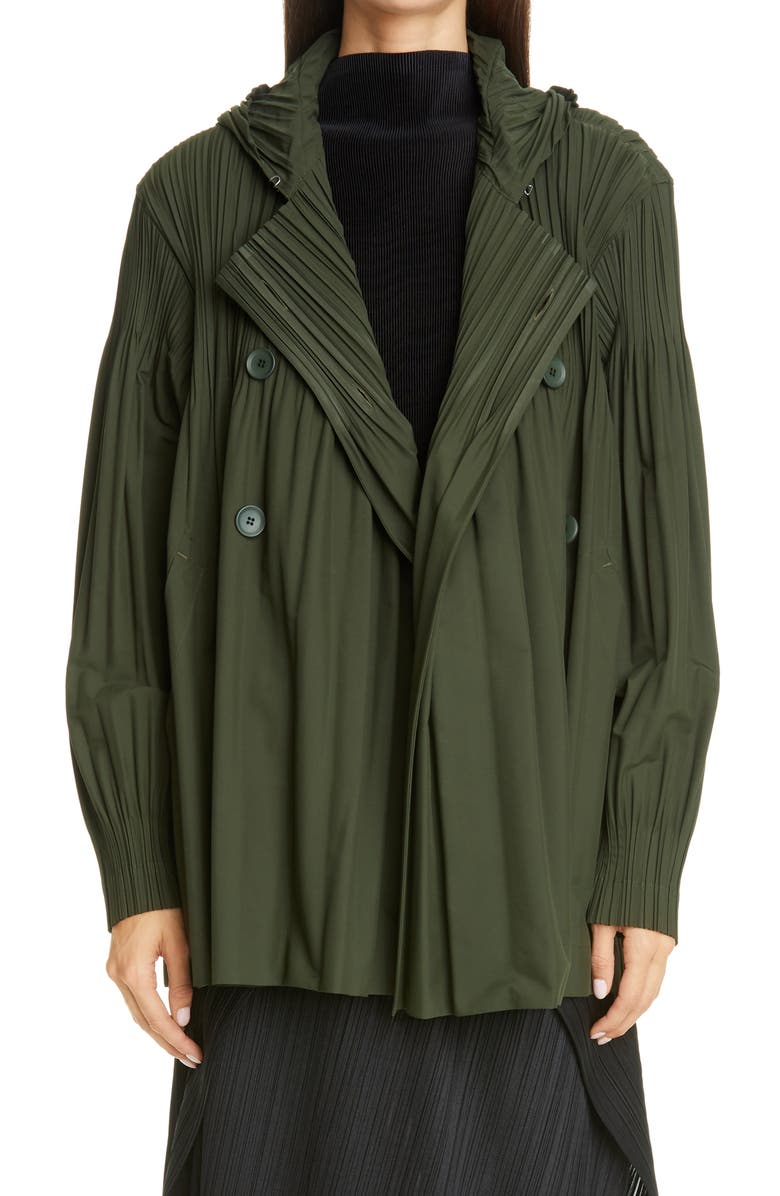 PLEATS PLEASE ISSEY MIYAKE Jaunty Double Breasted Jacket, Main, color, MOSS GREEN