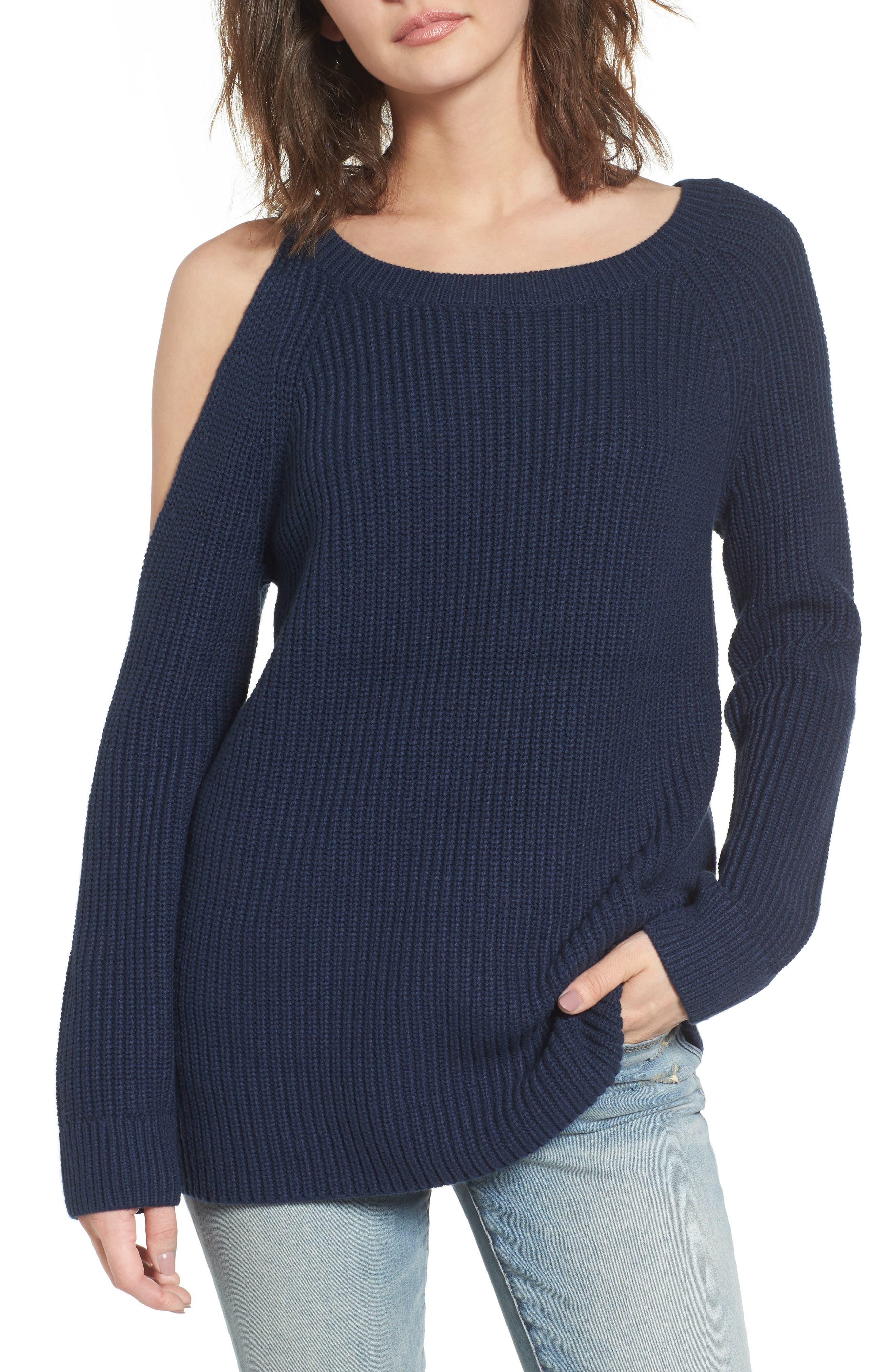 ,                             Asymmetrical Cold Shoulder Sweater,                             Main thumbnail 13, color,                             400