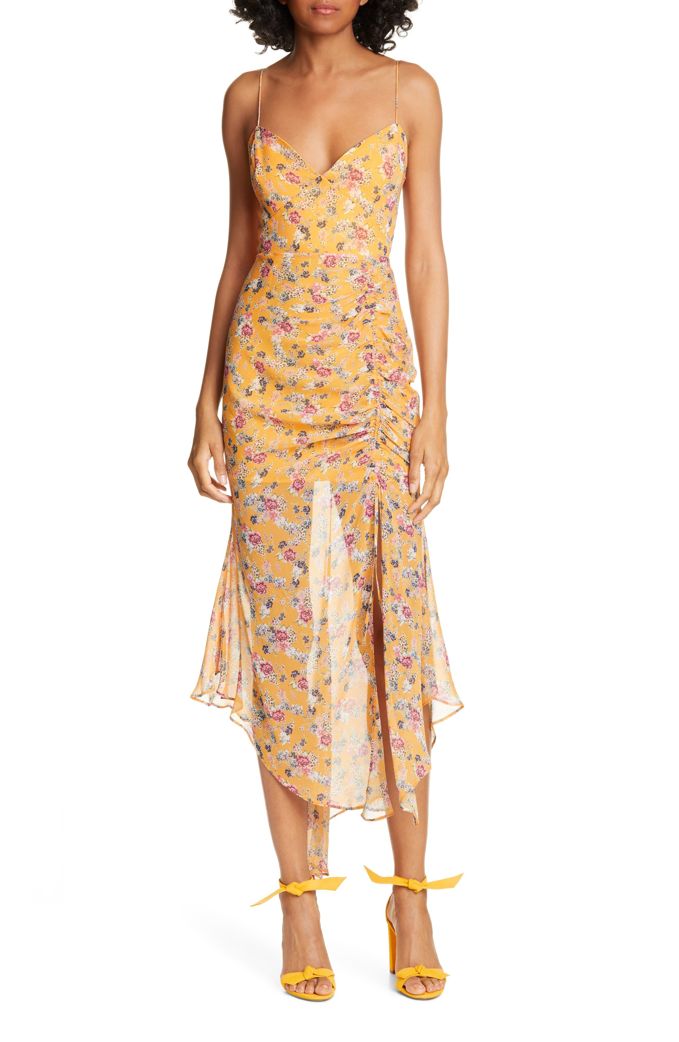 Nicholas Ruched Angled Hem Silk Dress, Yellow