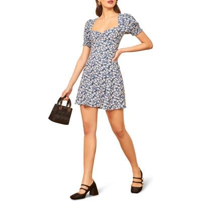 Reformation Drea Sweetheart Neckline Crepe Minidress, Blue