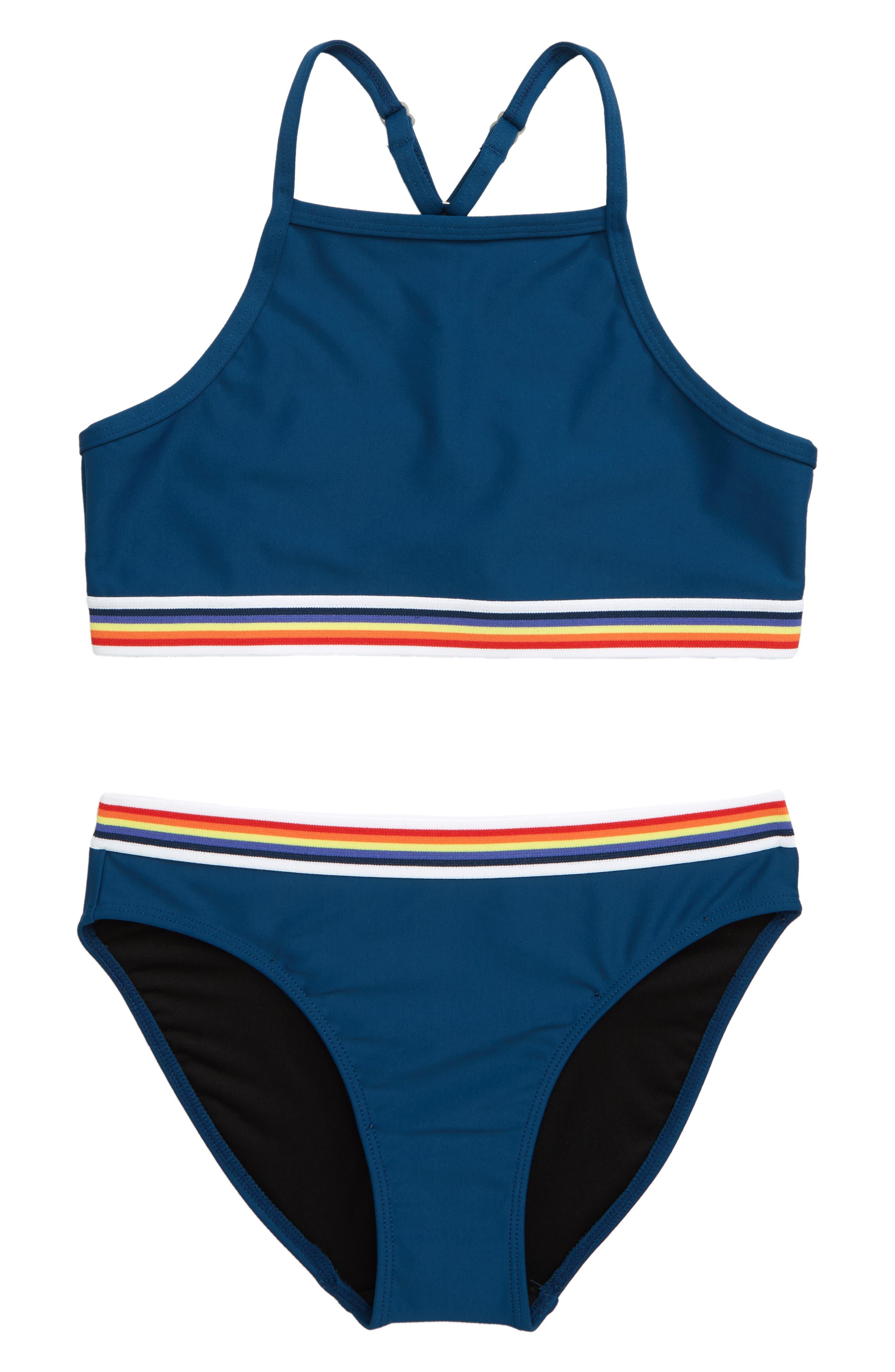 Girls Tankini Swimsuit Flower Printed Rashguard Swimwear Bathing Suit Bikini Set