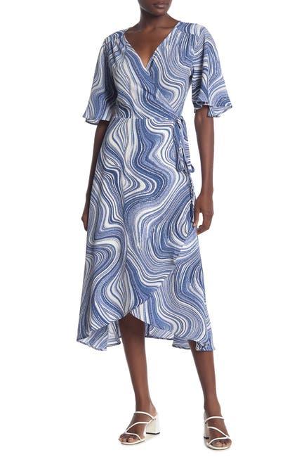 Image of Bobeau Flutter Sleeve Midi Wrap Dress