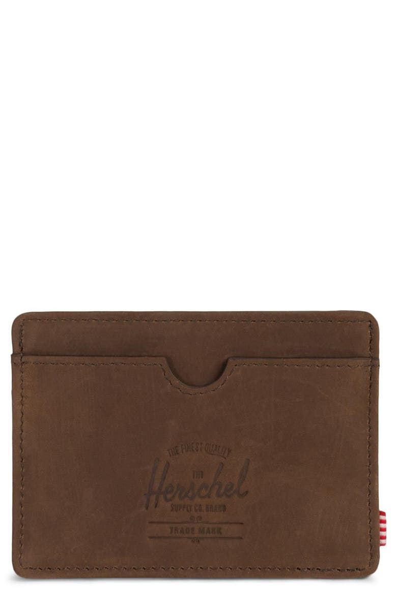 HERSCHEL SUPPLY CO. Charlie Leather RFID Card Case, Main, color, NUBUCK BROWN