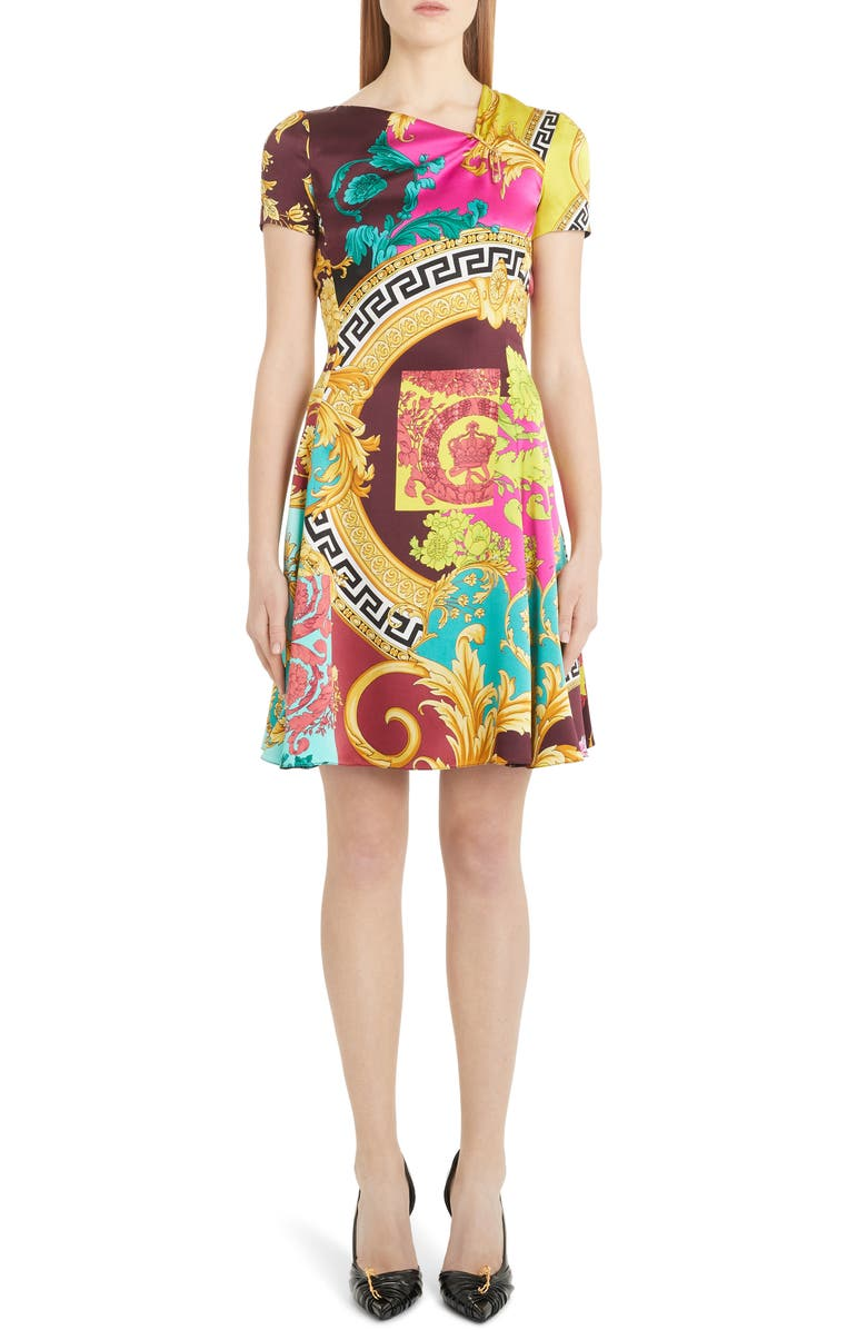 VERSACE Mixed Print Silk Minidress, Main, color, MULTI