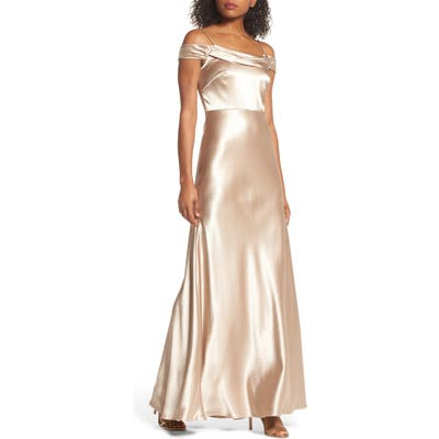 Jenny Yoo Serene Satin Off The Shoulder Gown, Beige