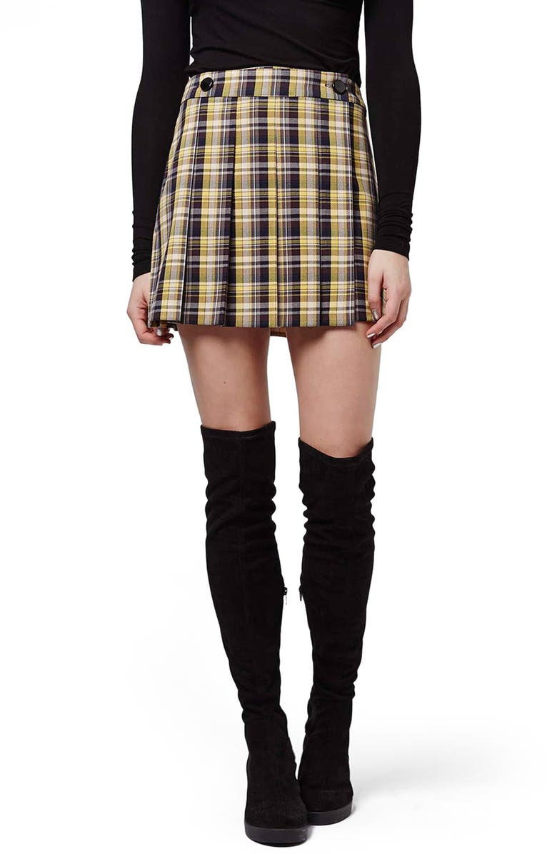 TOPSHOP Plaid Kilt Miniskirt, Main, color, 700