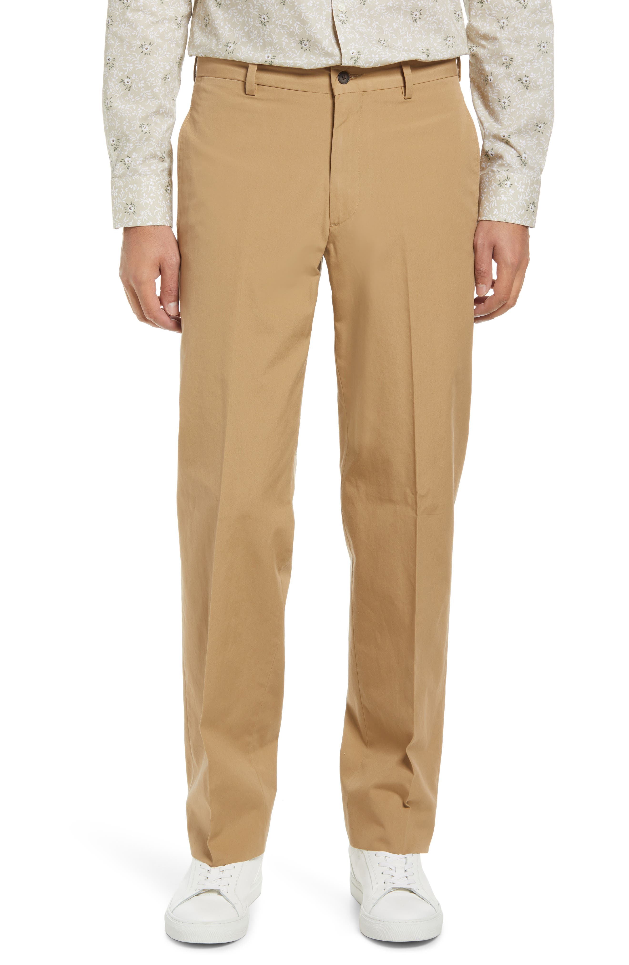 Men's Flat Front Cotton Poplin Dress Pants
