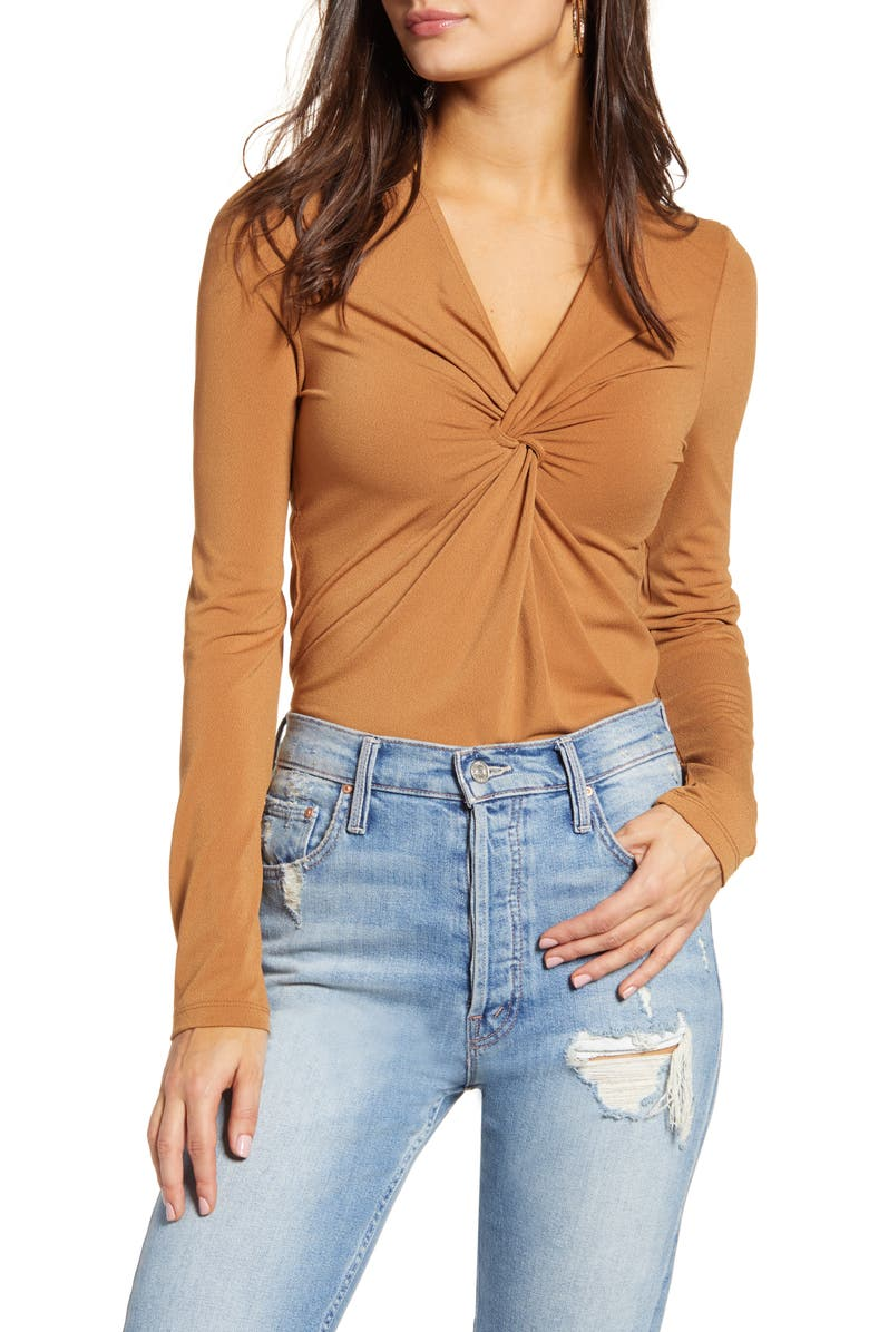 VERO MODA Milla Knot Top, Main, color, TOBACCO BROWN