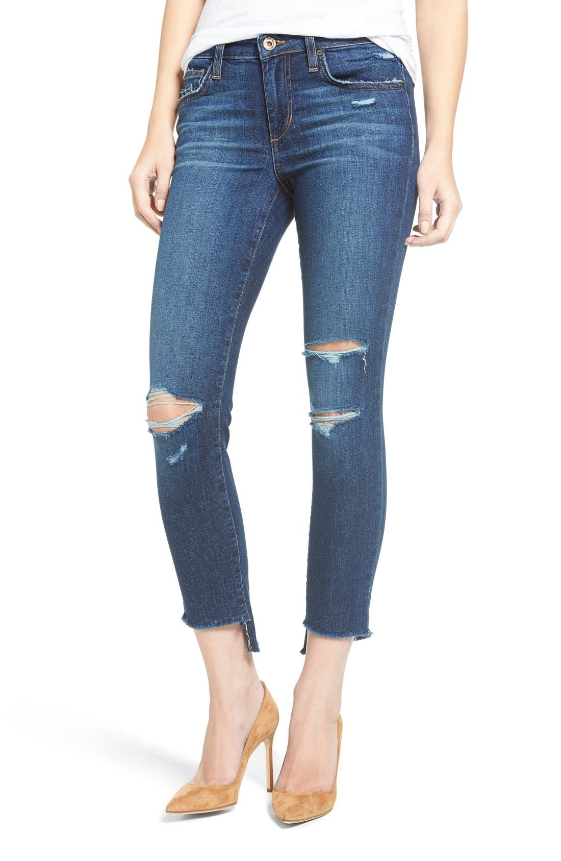 ,                             Icon Ripped Step Hem Crop Skinny Jeans,                             Main thumbnail 1, color,                             440