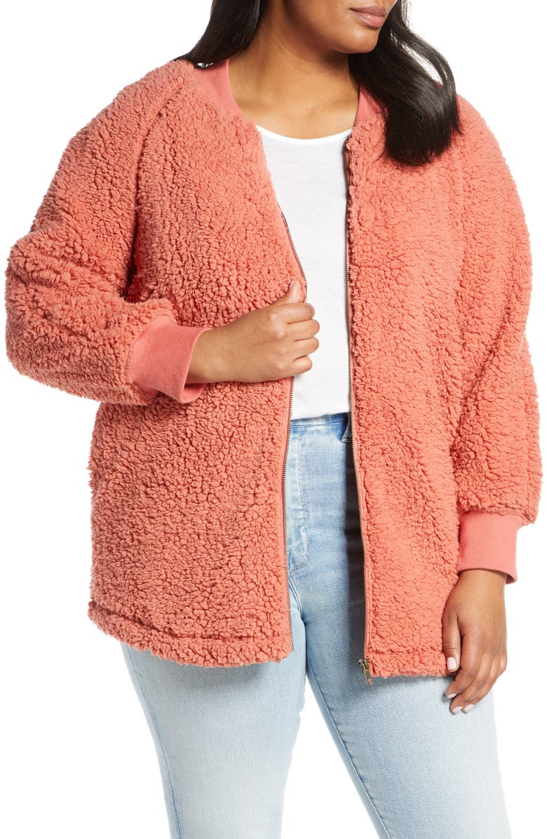 CASLON<SUP>®</SUP> Faux Shearling Jacket, Main, color, PINK DESERT