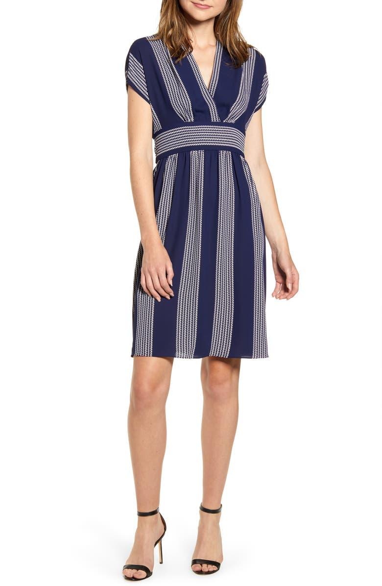 ANNE KLEIN Stripe Belted Dress, Main, color, ECLIPSE/ ANNE WHITE