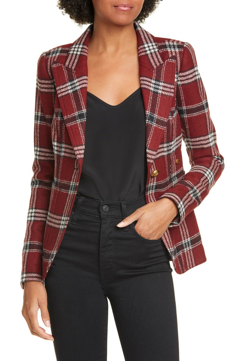 SMYTHE Duchess Plaid Wool Blazer, Main, color, MAROON PLAID