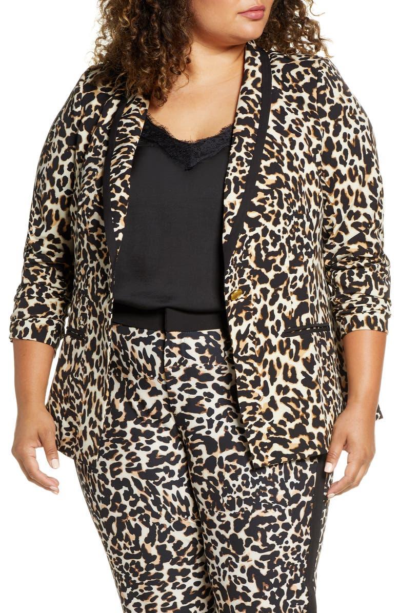 ELOQUII Leopard Suit Blazer, Main, color, SPECKLED