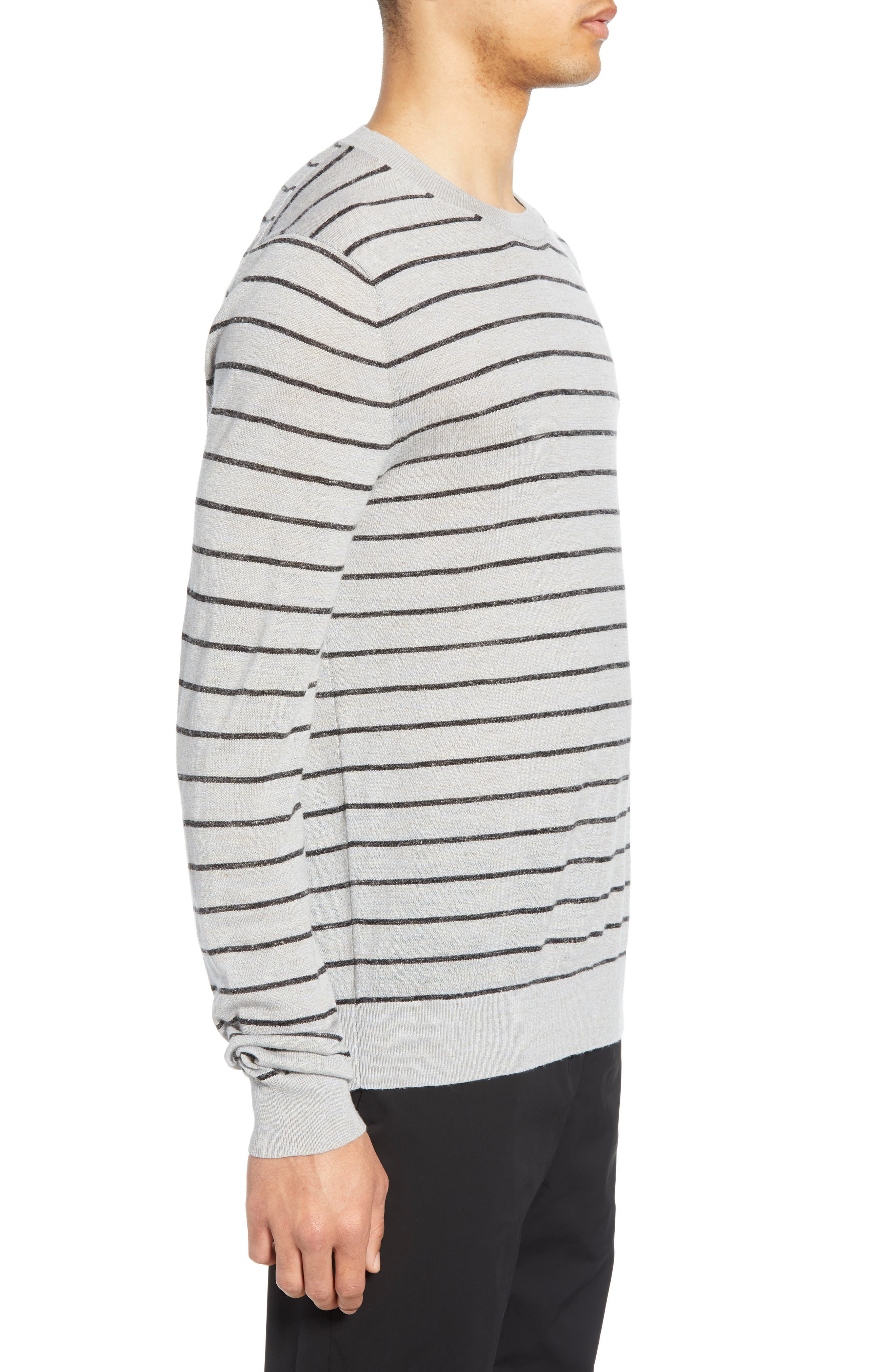,                             Stripe Crewneck Wool & Linen Sweater,                             Alternate thumbnail 3, color,                             HEATHER LIGHT MED GREY/ BLACK