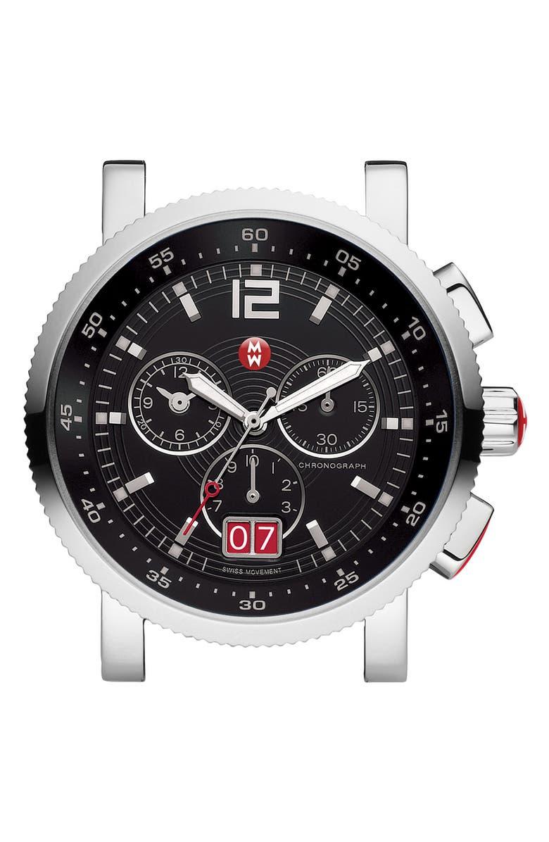 MICHELE 'Sport Sail - Large' Black Dial Watch Case, 42mm, Main, color, 040