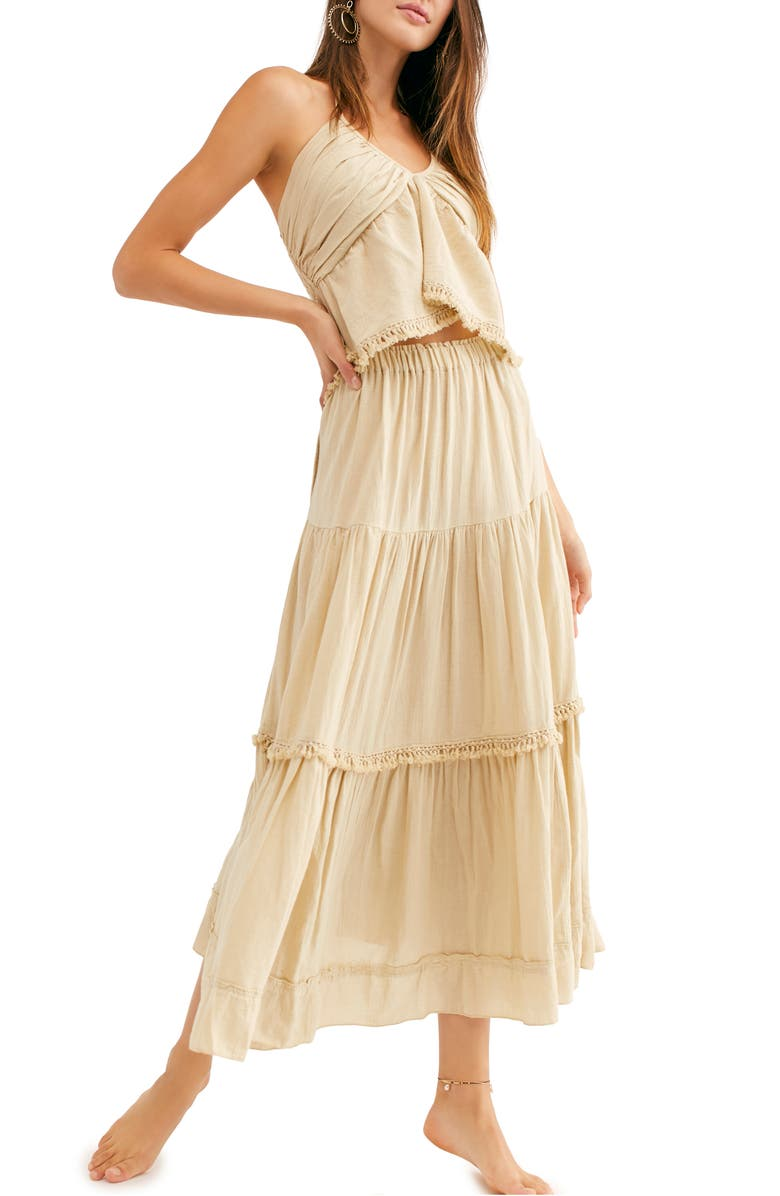FREE PEOPLE Kahlo Halter Top & Maxi Skirt, Main, color, NUDE SAND