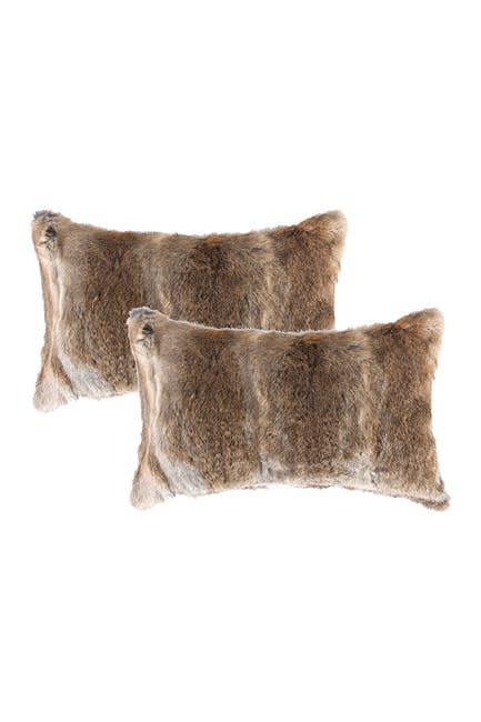 "Image of Natural Genuine Rabbit Fur Pillow - Set of 2 - 12"" x 20"" - Hazelnut"
