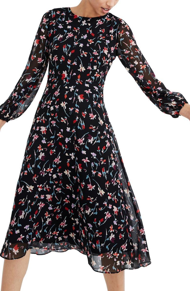 MADEWELL Drifting Flowers Long Sleeve Midi Dress, Main, color, TOSSED FLORAL TRUE BLACK