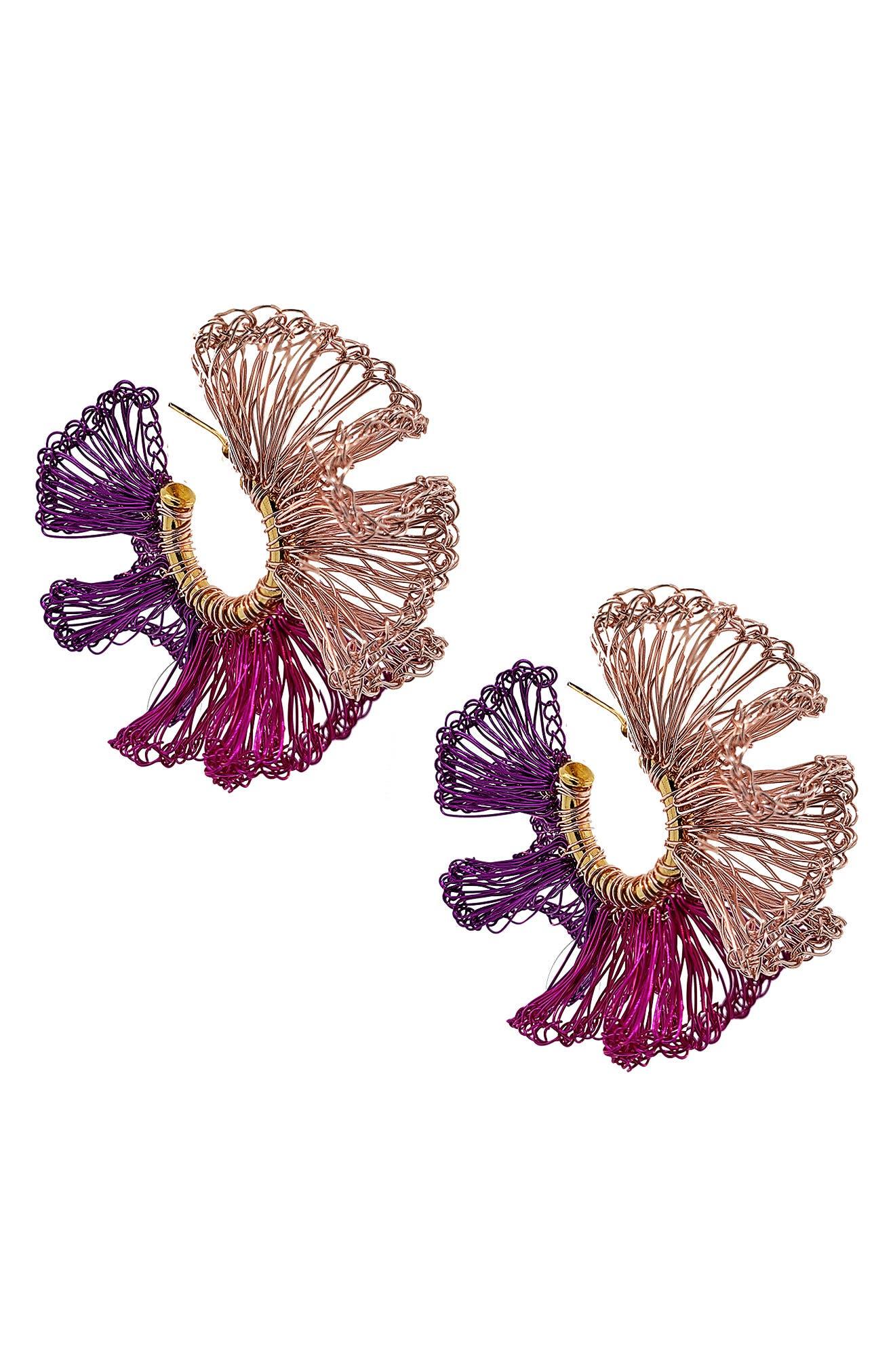 Pink Ruffle Hoop Earrings