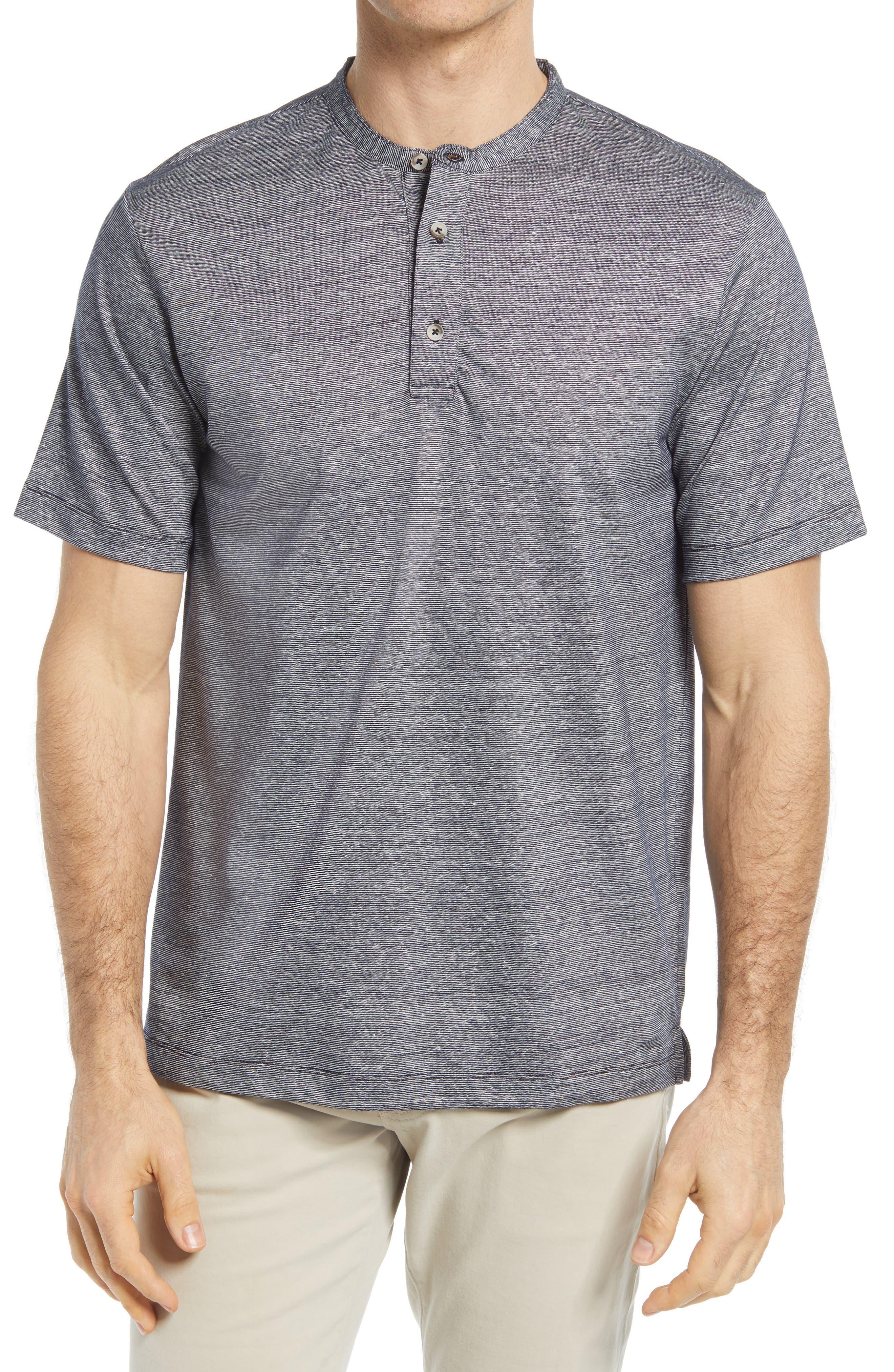 Men's Stripe Linen Blend Polo