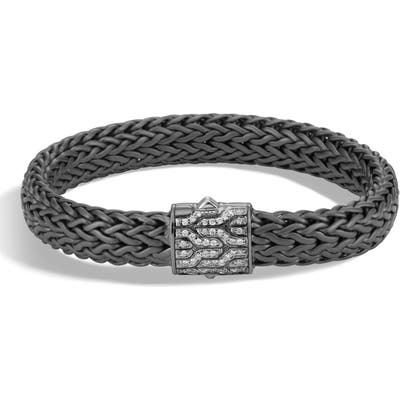 John Hardy Classic Chain Large Flat Chain Bracelet With Pave Diamonds