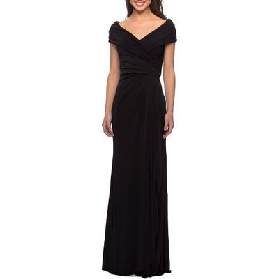 La Femme Ruched Jersey Column Gown, Black