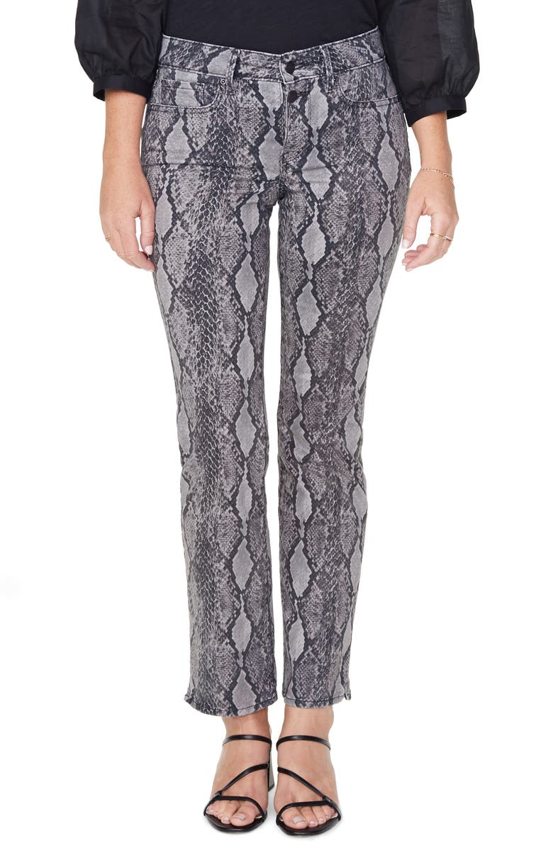 NYDJ Marilyn Snake Print High Waist Button Fly Ankle Jeans, Main, color, DIAMONDBACK SLATE