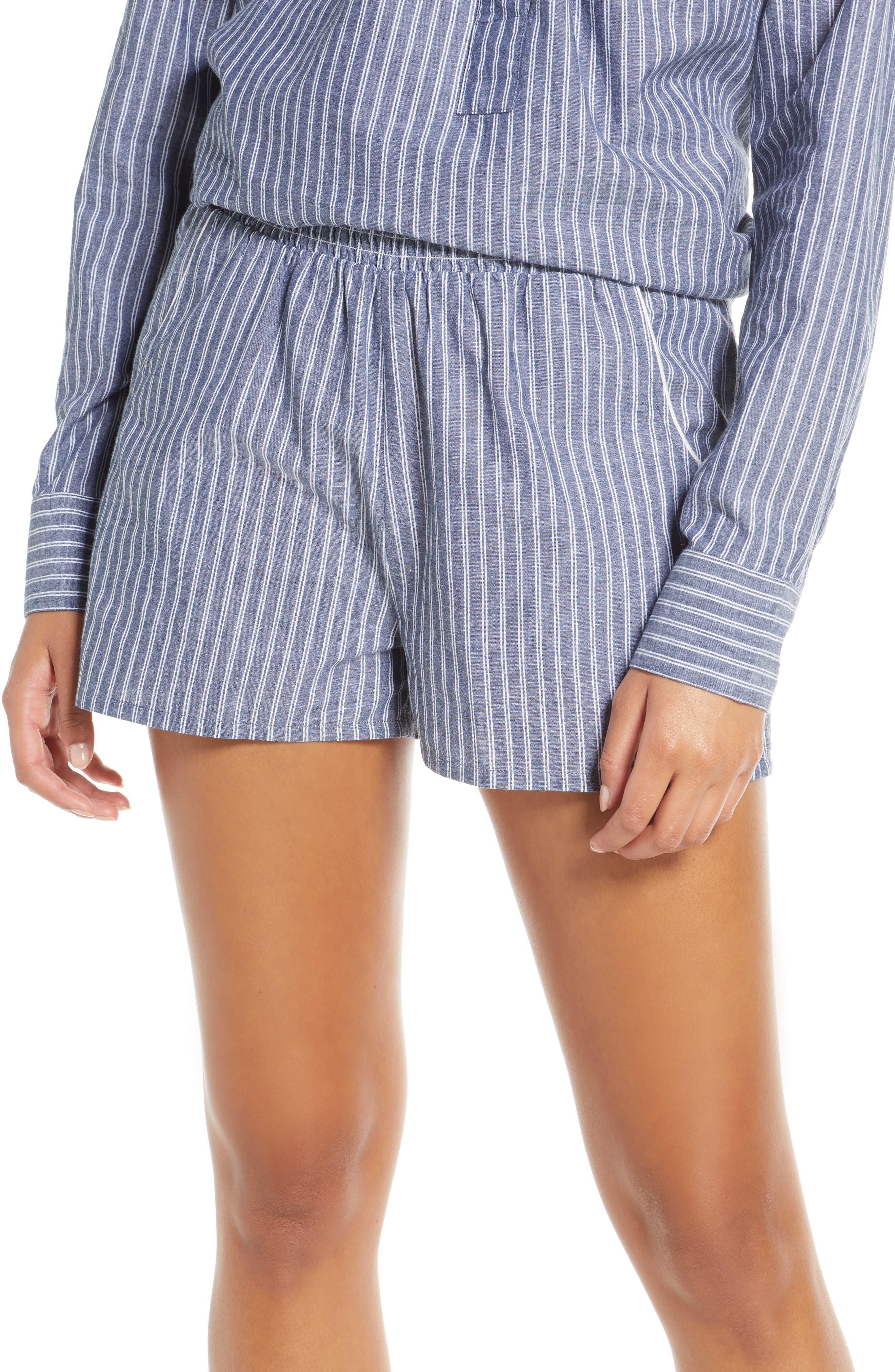 Naked Ethereal Stripe Pajama Shorts, Blue