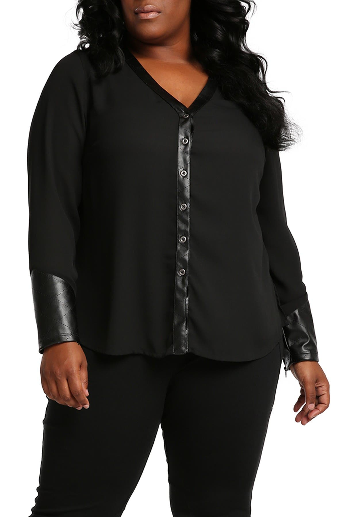 Image of Poetic Justice Sheer Faux Leather Blouse