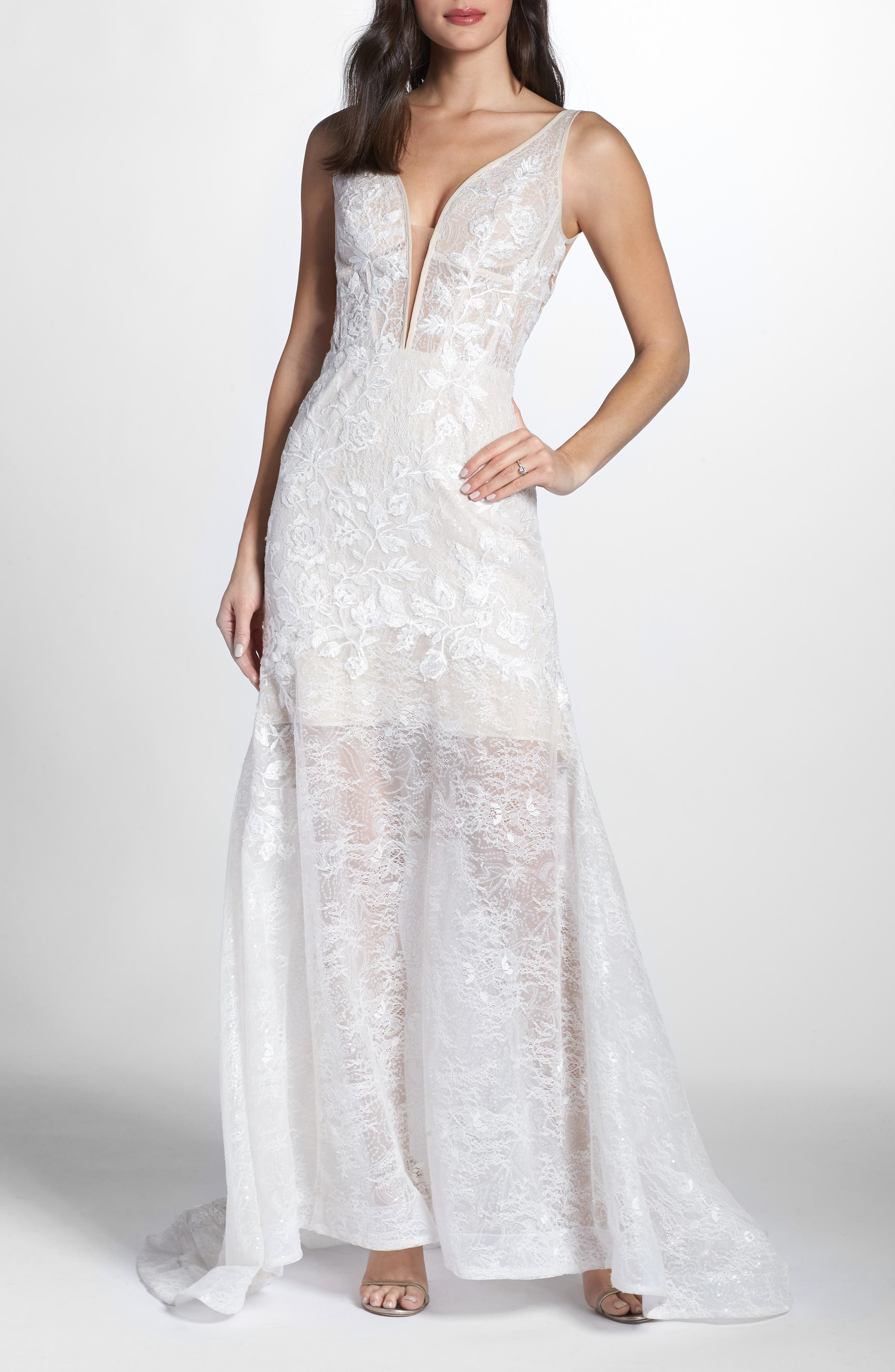 Bronx And Banco Estelle Plunging Lace Gown, White