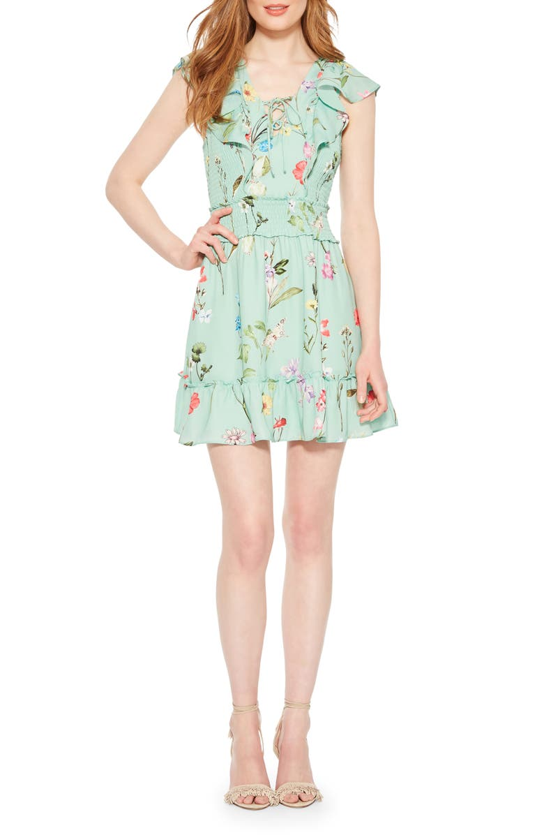PARKER Celeste Floral Smocked Ruffle Minidress, Main, color, 100