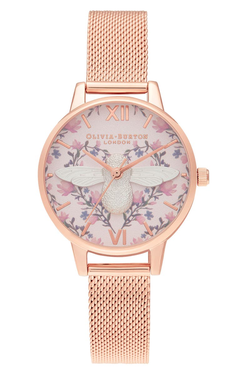 OLIVIA BURTON Meant to Bee Mesh Strap Watch, 30mm, Main, color, ROSE GOLD/FLORAL/ ROSE GOLD